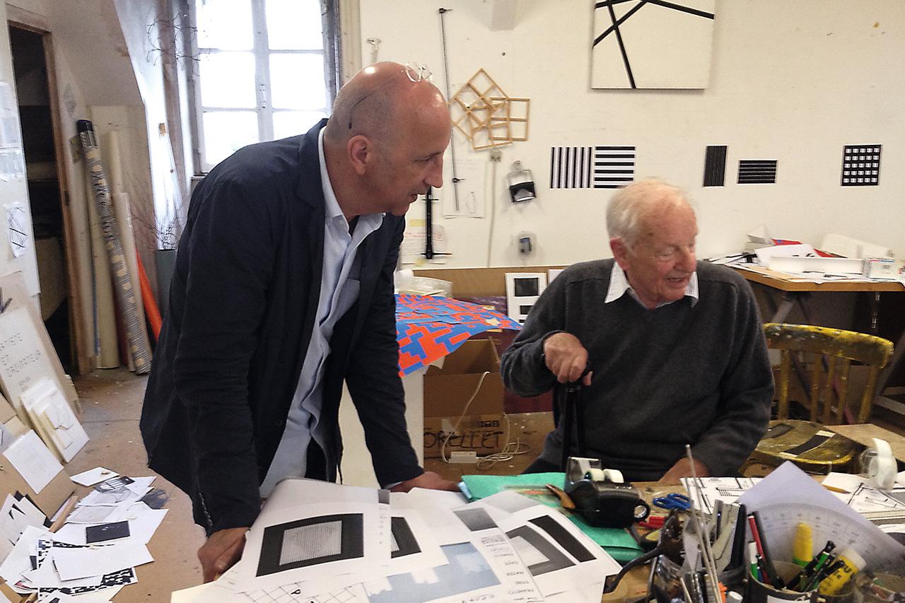 François Morellet with Chus Burés, Cholet, 2012